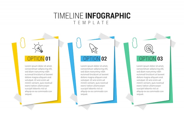 Presentation business infographic template with 3 options. Premium Vector