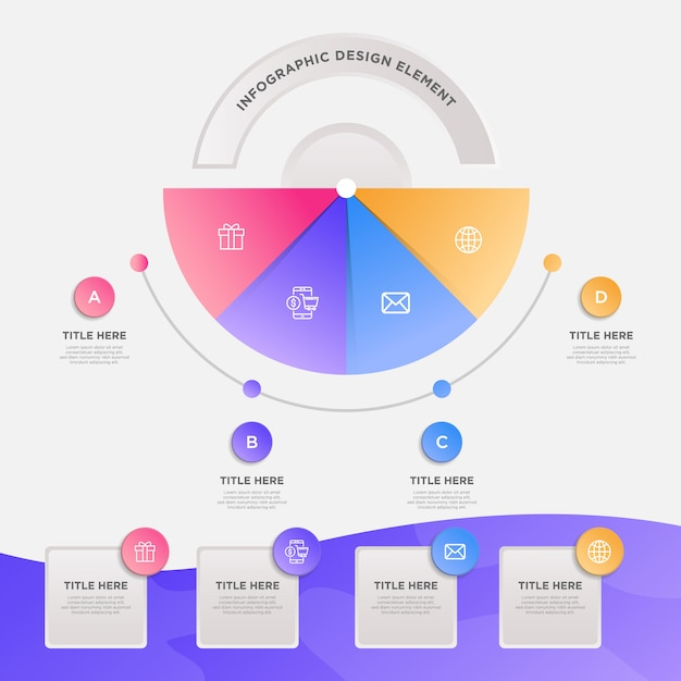 Presentation business infographic template with 4 options Premium Vector
