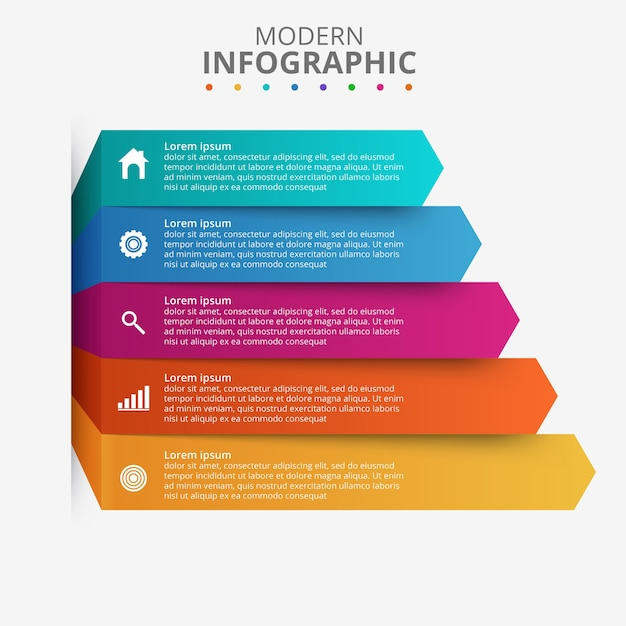 Presentation business infographic template with 5 options Free Vector