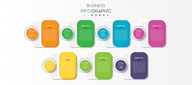 Presentation business infographic template with 7 options or steps Premium Vector