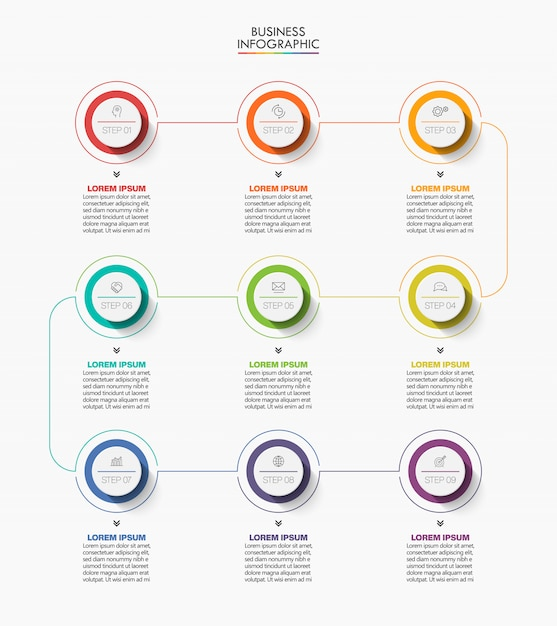 Presentation business infographic template with 9 options. Premium Vector