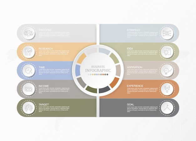 Presentation business infographic template with icons and 10 options or steps. Premium Vector