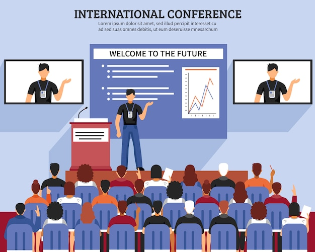 Presentation conference hall composition Free Vector