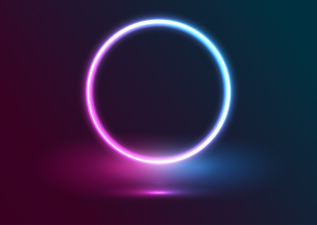 Presentation display background with neon circle design Premium Vector