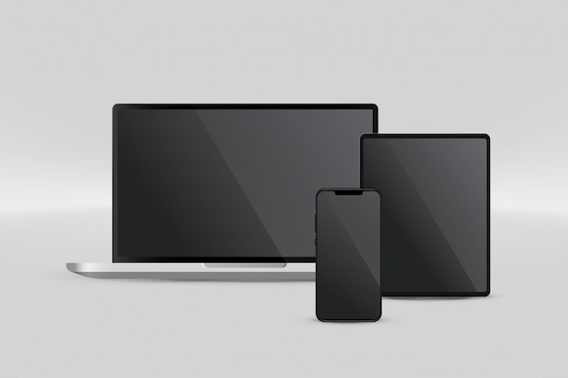 Presentation display of laptop tablet and smartphone Free Vector