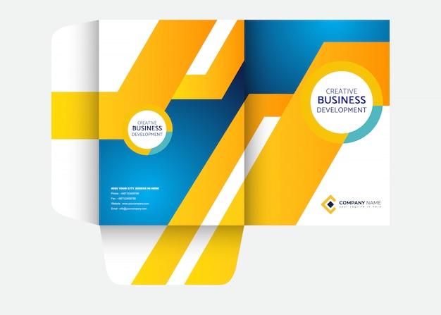 Presentation folder design template Premium Vector