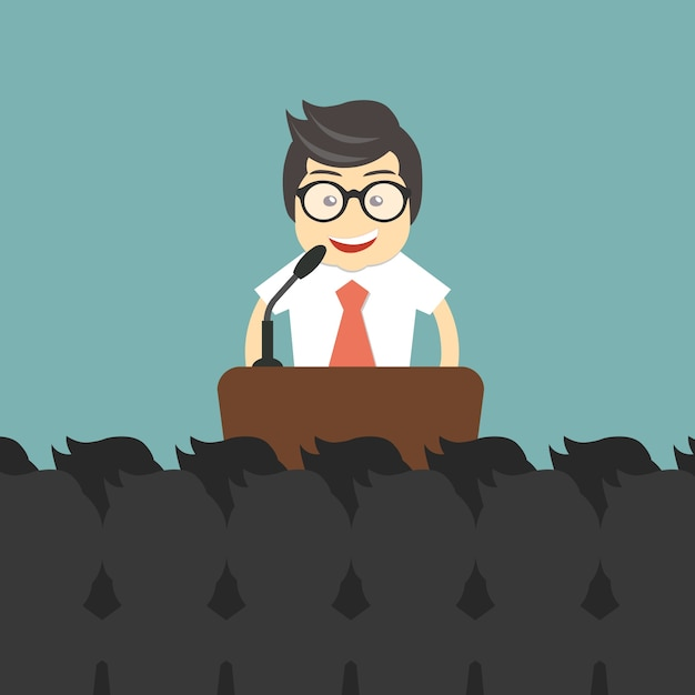 Presentation in front of many people Free Vector