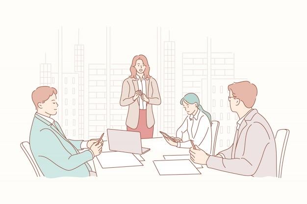プレゼンテーション、人事、会議、採用、トレーニング、ヘッドハンティング、ビジネスコンセプト Premiumベクター