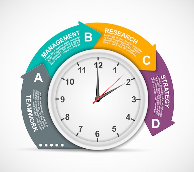 Presentation infographic with clock and four options. Premium Vector