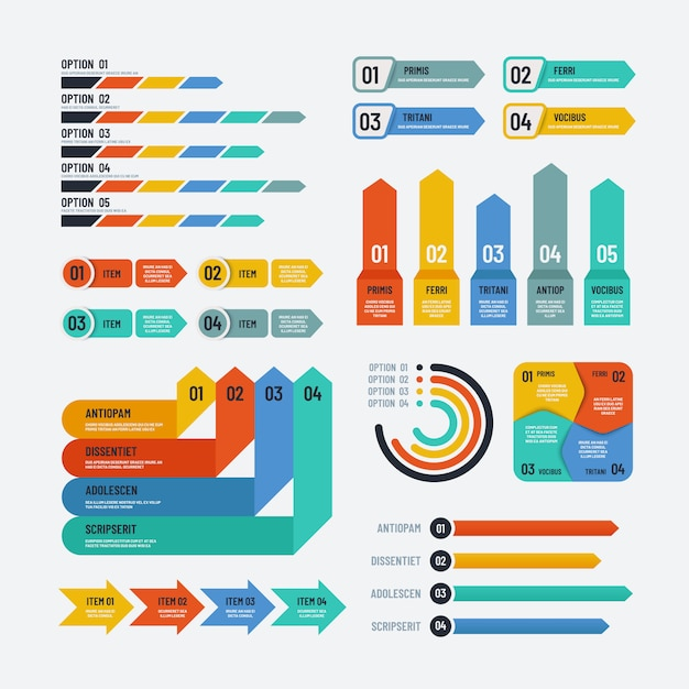 Presentation infographics. flowchart timeline process chart workflow option diagrams. infographic vector elements Premium Vector