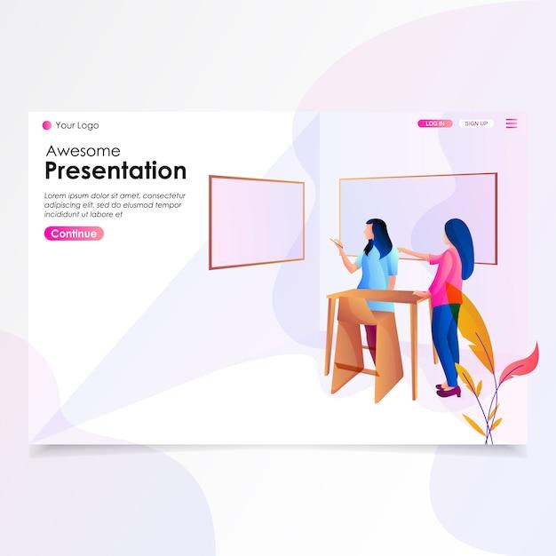 Presentation landing page illustration Premium Vector