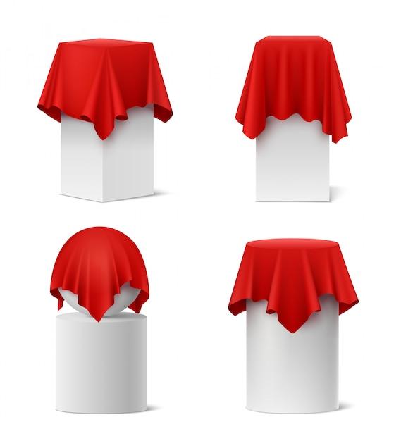 Презентация красной шелковой ткани реалистичный набор изолированных Бесплатные векторы