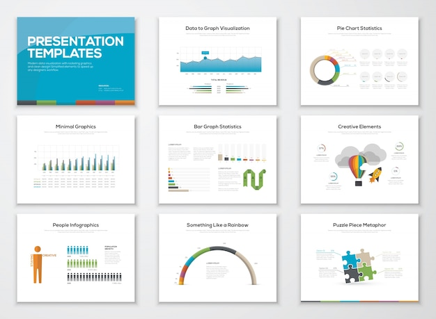 Presentation slide templates and business vector brochures Premium Vector
