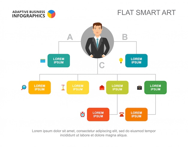 Presentation slide with hierarchy chart and character icons. Free Vector