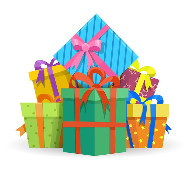 Presents or gifts boxes illustration Premium Vector