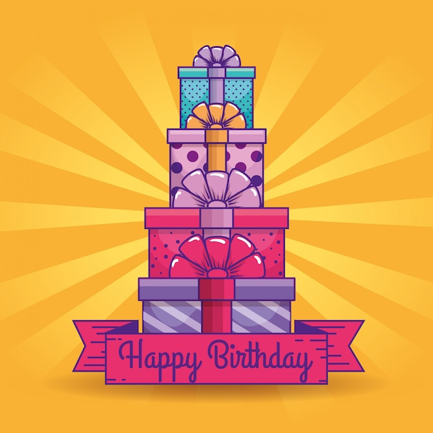 Presents gifts with ribbon decoration to brithday Free Vector