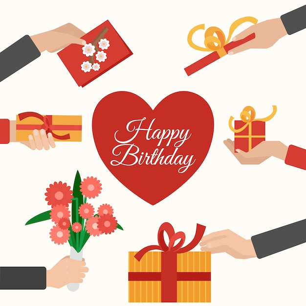 Presents holding hands flat pictograms composition Free Vector