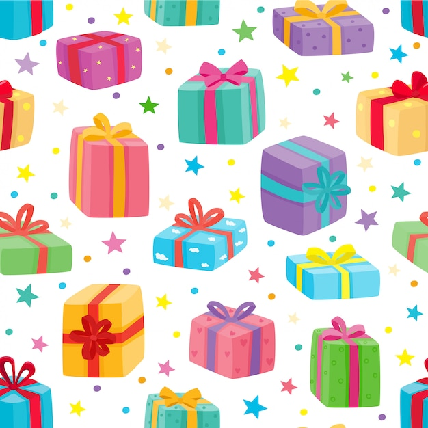 Presents seamless pattern.  illustration of cartoon gifts for christmas, birthday, valentines day isolated on white Premium Vector