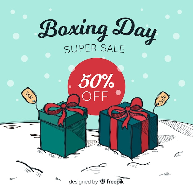 Presents on the snow boxing day background Free Vector