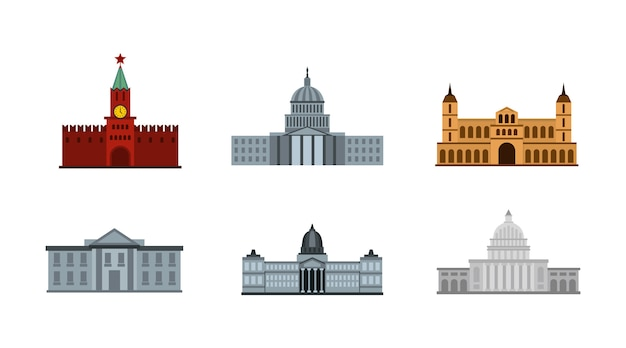President building icon set. flat set of president building vector icons collection isolated Premium Vector