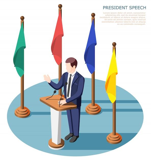 Президент возле трибуны с микрофонами во время публичного выступления в окружении разноцветных флагов изометрической композиции Бесплатные векторы