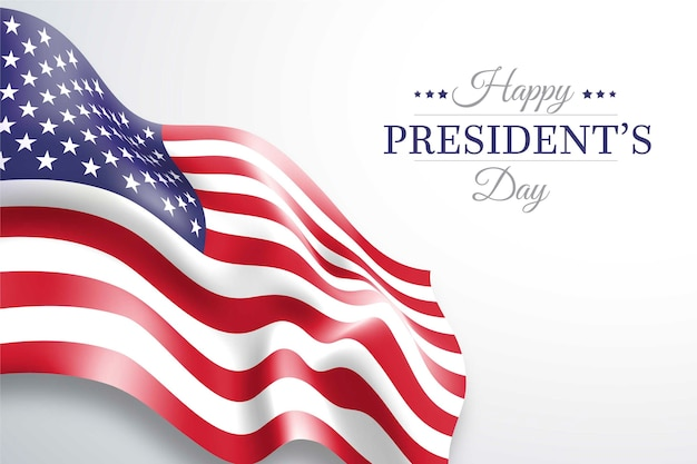 President's day american flag and lettering Free Vector