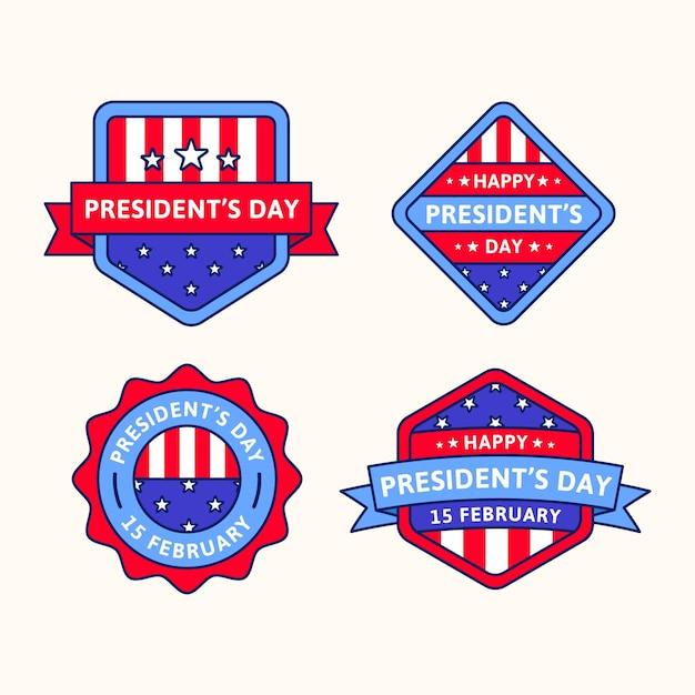 Collezione di badge per il giorno del presidente Vettore gratuito