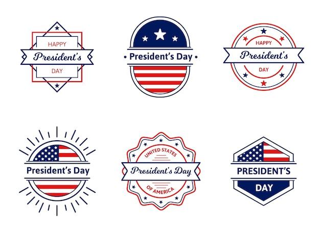 Collezione di distintivi del giorno del presidente Vettore gratuito