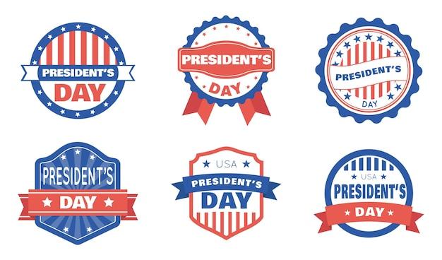 Distintivi del giorno del presidente impostati Vettore gratuito