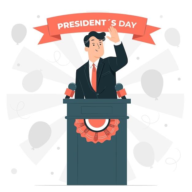 Иллюстрация концепции дня президента Бесплатные векторы
