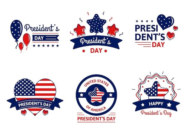 Pacchetto badge evento president's day Vettore gratuito