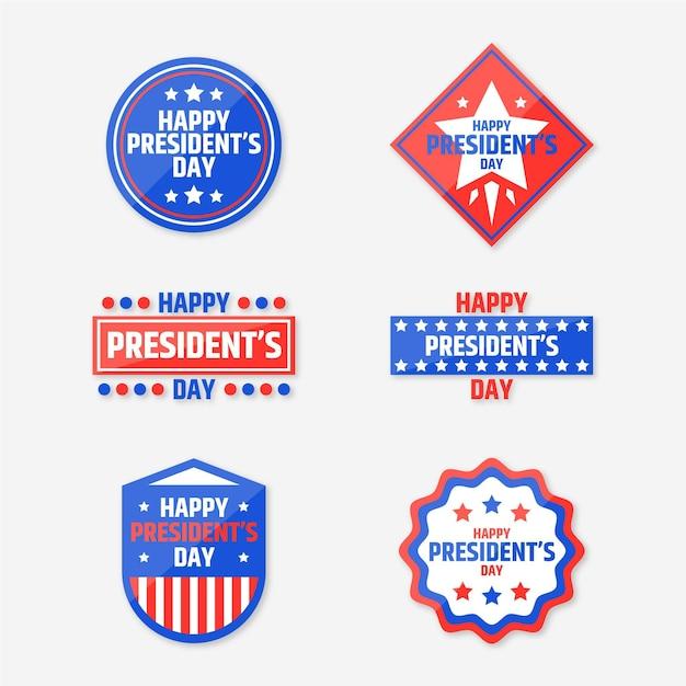Set di etichette per eventi del giorno del presidente Vettore gratuito