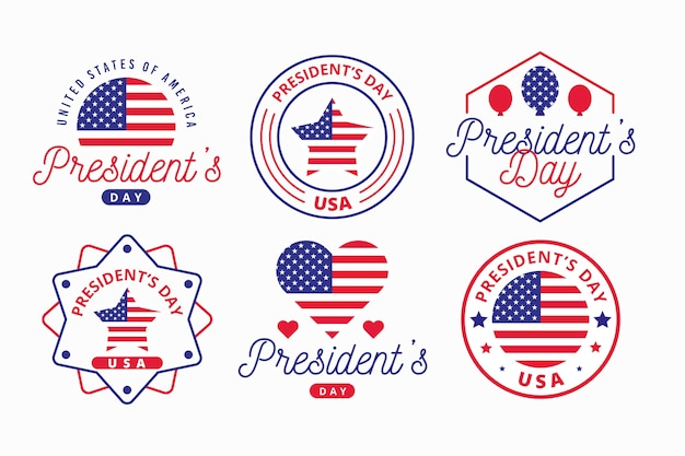 President's day label collection with flag Free Vector