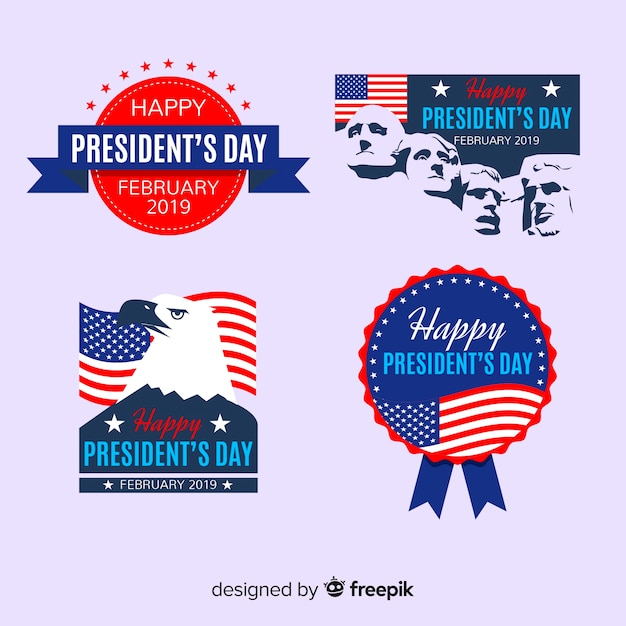 President's day label collection Free Vector