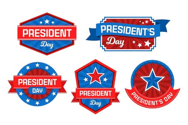 Collezione di etichette del giorno del presidente Vettore gratuito