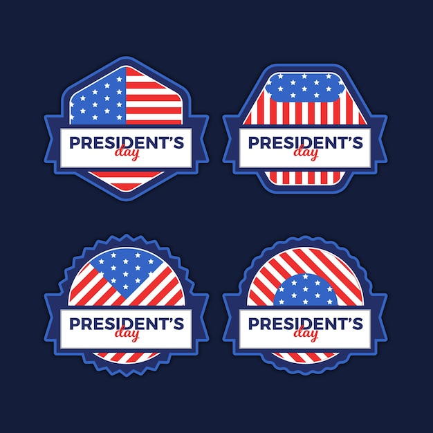 President's day label pack Free Vector