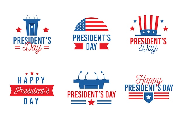 大統領の日のラベルセット 無料ベクター