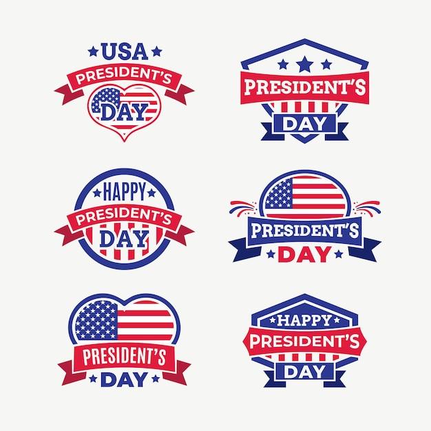Confezione di etichette del giorno del presidente Vettore gratuito