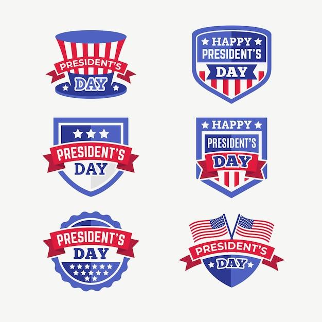 Set di etichette del giorno del presidente Vettore gratuito