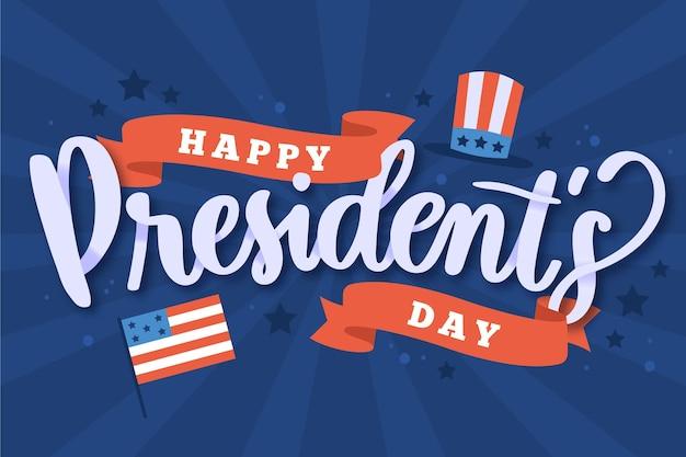 旗のある大統領の日のレタリング 無料ベクター