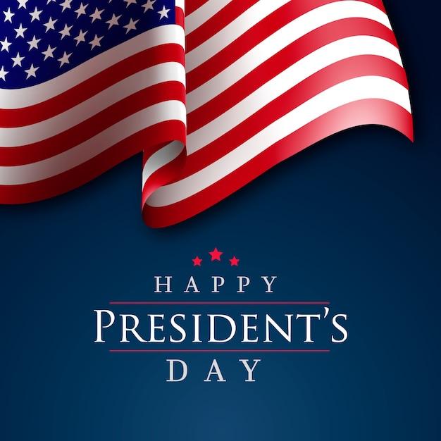 Президентский день реалистичный американский флаг Бесплатные векторы