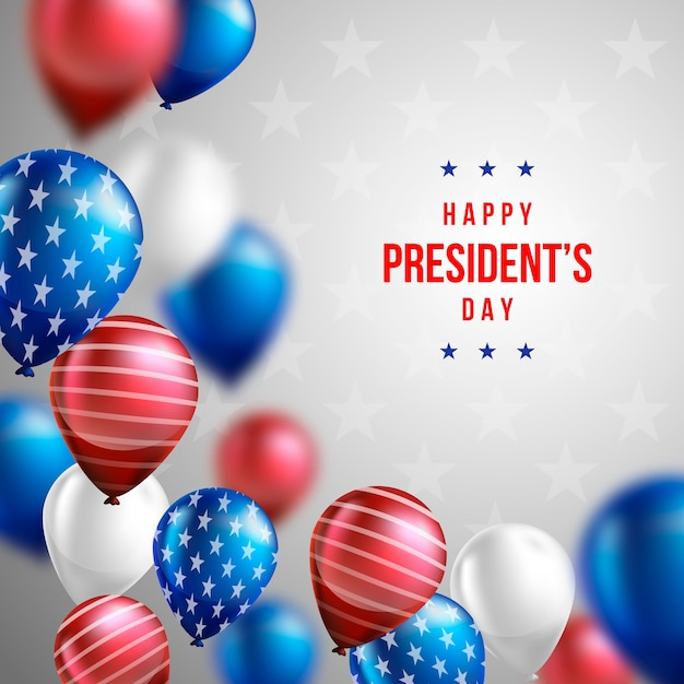 President's day wallpaper with realistic balloons Free Vector