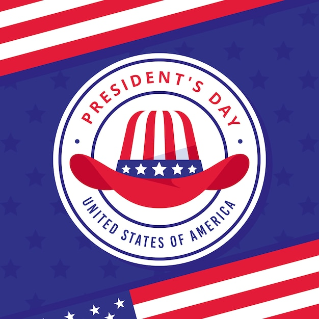President's day with hat and stars Free Vector