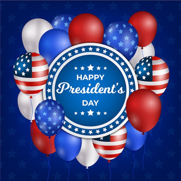President's day with realistic balloons and flag Free Vector