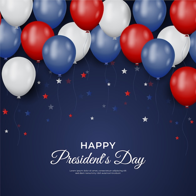 President's day with realistic balloons and stars Free Vector