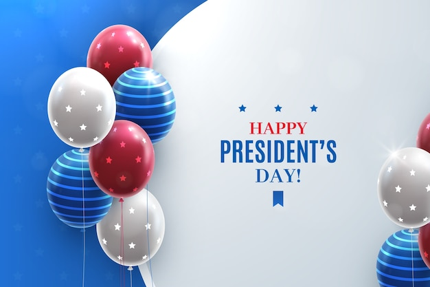 President's day with realistic balloons Free Vector
