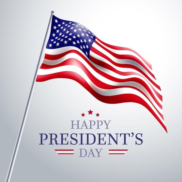 Президентский день с реалистичным флагом, низкий вид Бесплатные векторы