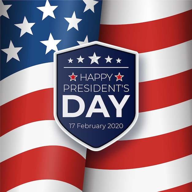 President's day with realistic flag and official badge Free Vector