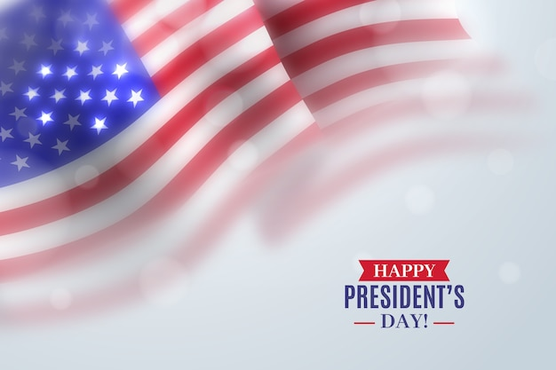 Президентский день с реалистичным флагом Бесплатные векторы