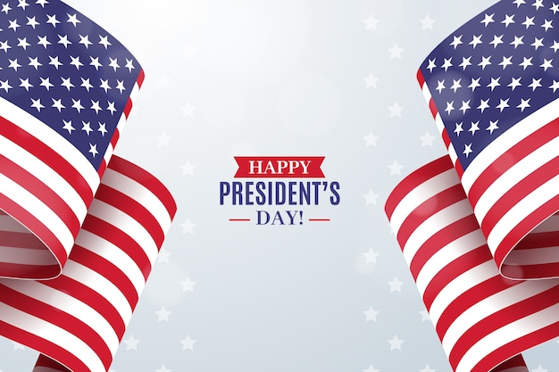 President's day with realistic flag Free Vector